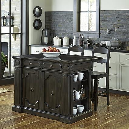 Home Styles 5077-948G Hacienda Granite Top Kitchen Island with 2 Stools