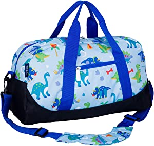 Wildkin Kids Overnighter Duffel Bag for Boys and Girls, Carry-On Size and Perfect for After-School Practice or Weekend Overnight Travel, Measures 18x9x9 Inches, BPA-free, Olive Kids (Dinosaur Land)