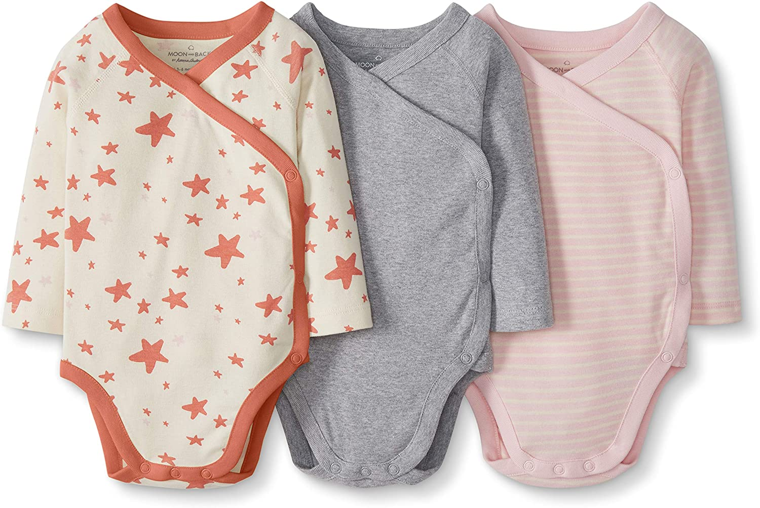 in cotone biologico a maniche lunghe 0 mesi Confezione di 3 body da neonato Moon and Back by Hanna Andersson 49 CM con bottoni laterali Mocassini eleganti da donna