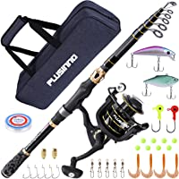 PLUSINNO Fishing Rod and Reel Combos Carbon Fiber Telescopic Fishing Rod with Reel Combo Sea Saltwater Freshwater Kit
