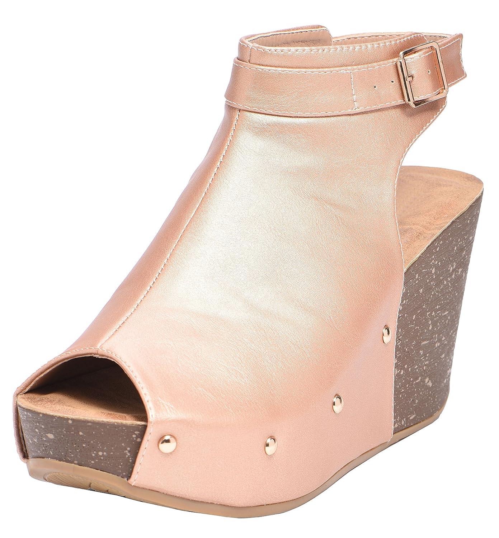 Cambridge Select Women's Peep Toe Buckle Ankle Strap Studded Platform Wedge Sandal B07958R6WQ 5.5 B(M) US|Rose Gold
