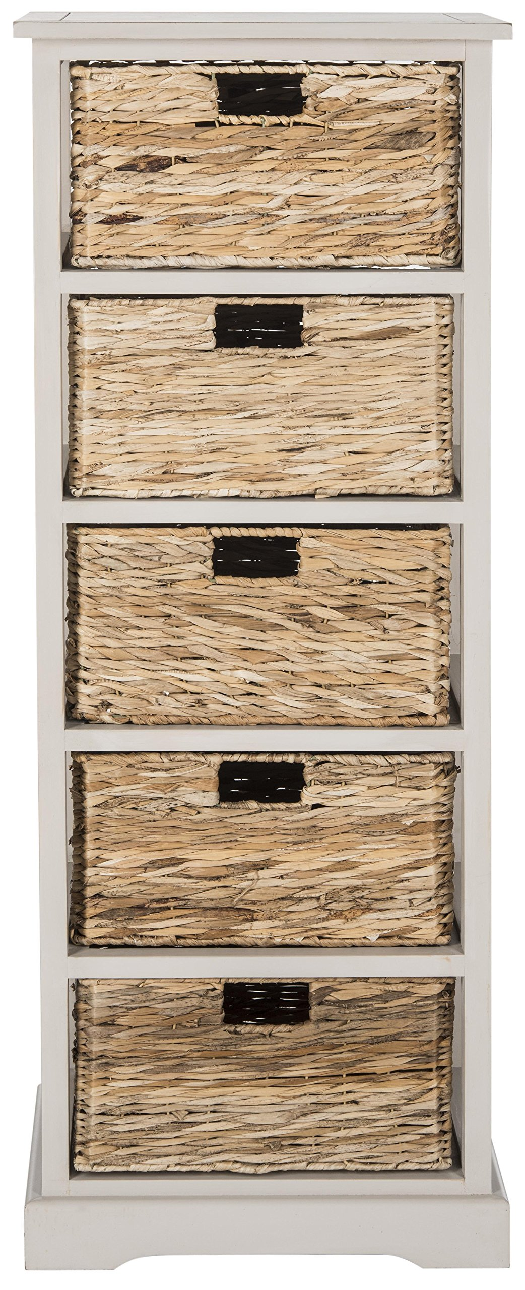 Safavieh American Homes Collection Vedette Vintage Grey 5 Wicker Basket Storage Tower