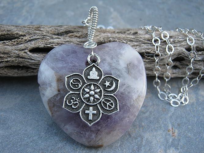Amazon 20 coexist amethyst necklace 925 sterling silver 20quot coexist amethyst necklace 925 sterling silver pendant necklace purple heart gemstone aloadofball Gallery