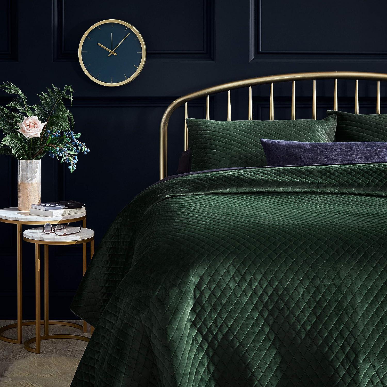 Rivet Modern Diamond Quilt Velvet Coverlet and Sham Set - Full or Queen, Emerald Green