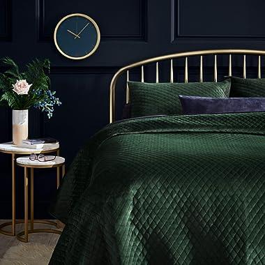 Rivet Modern Diamond Quilted Velvet Coverlet Set, Soft and Easy Care, King, Emerald Green