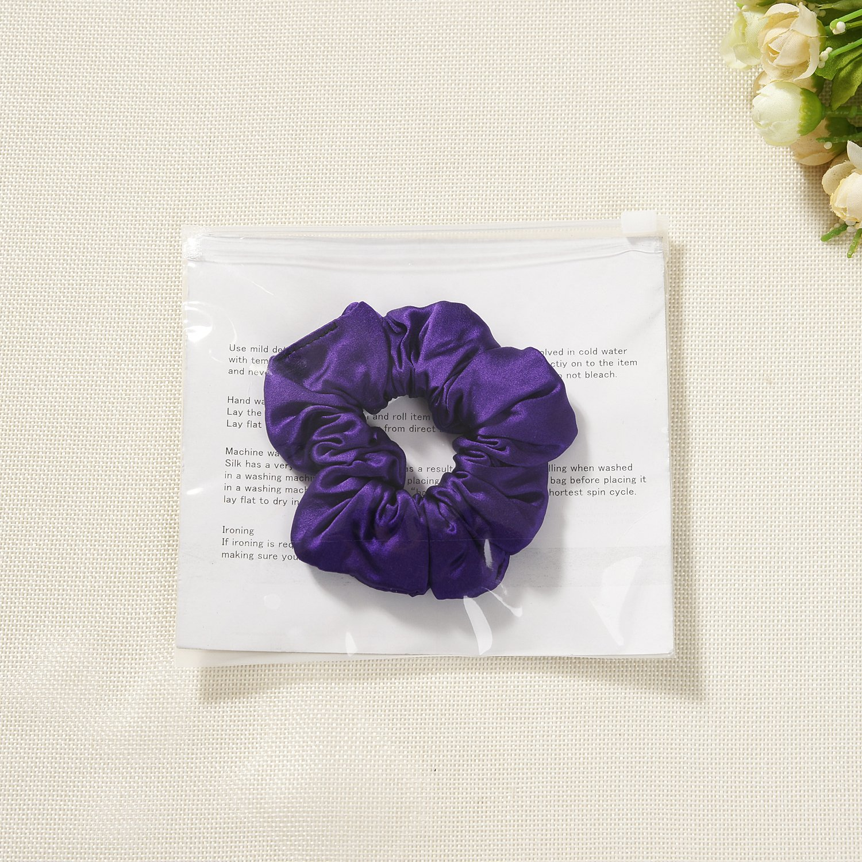 silk satin hair scrunchies set of 2 black townssilk