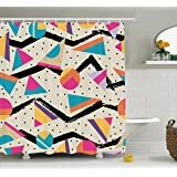 Indie Shower Curtain by Ambesonne, Eighties Memphis Fashion Style Geometric Abstract Colorful Design with Dots Funky, Fabric Bathroom Decor Set with Hooks, 70 Inches, Multicolor