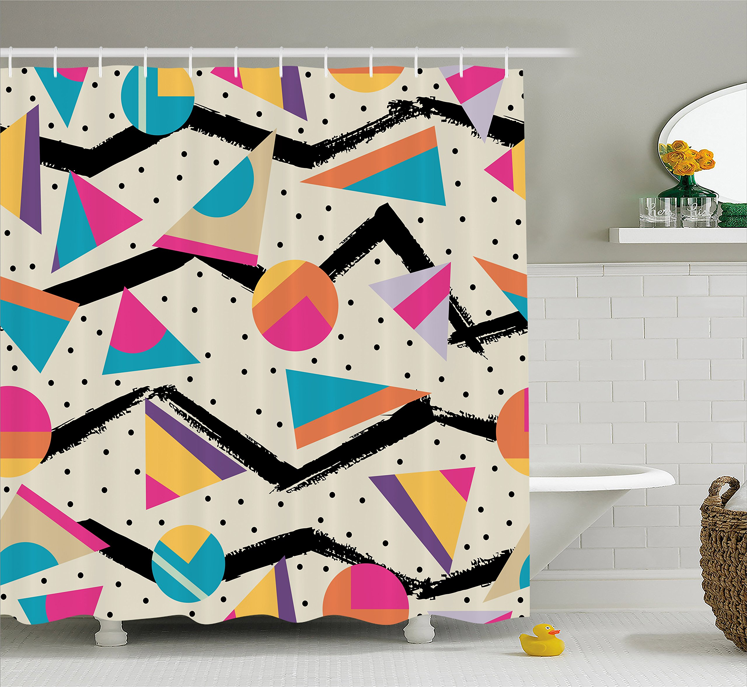Ambesonne Indie Shower Curtain, Eighties Memphis Fashion Style Geometric Abstract Colorful Design with Dots Funky, Fabric Bathroom Decor Set with Hooks, 75 inches Long, Multicolor