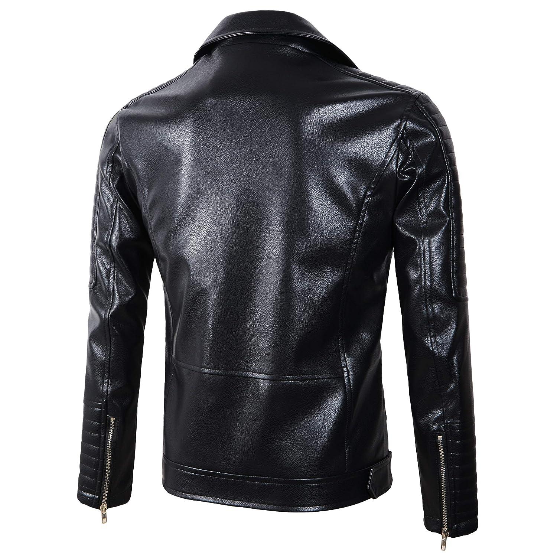 Beninos Mens Causal Slim Fit Faux Leather Biker Coat Moto Jacket