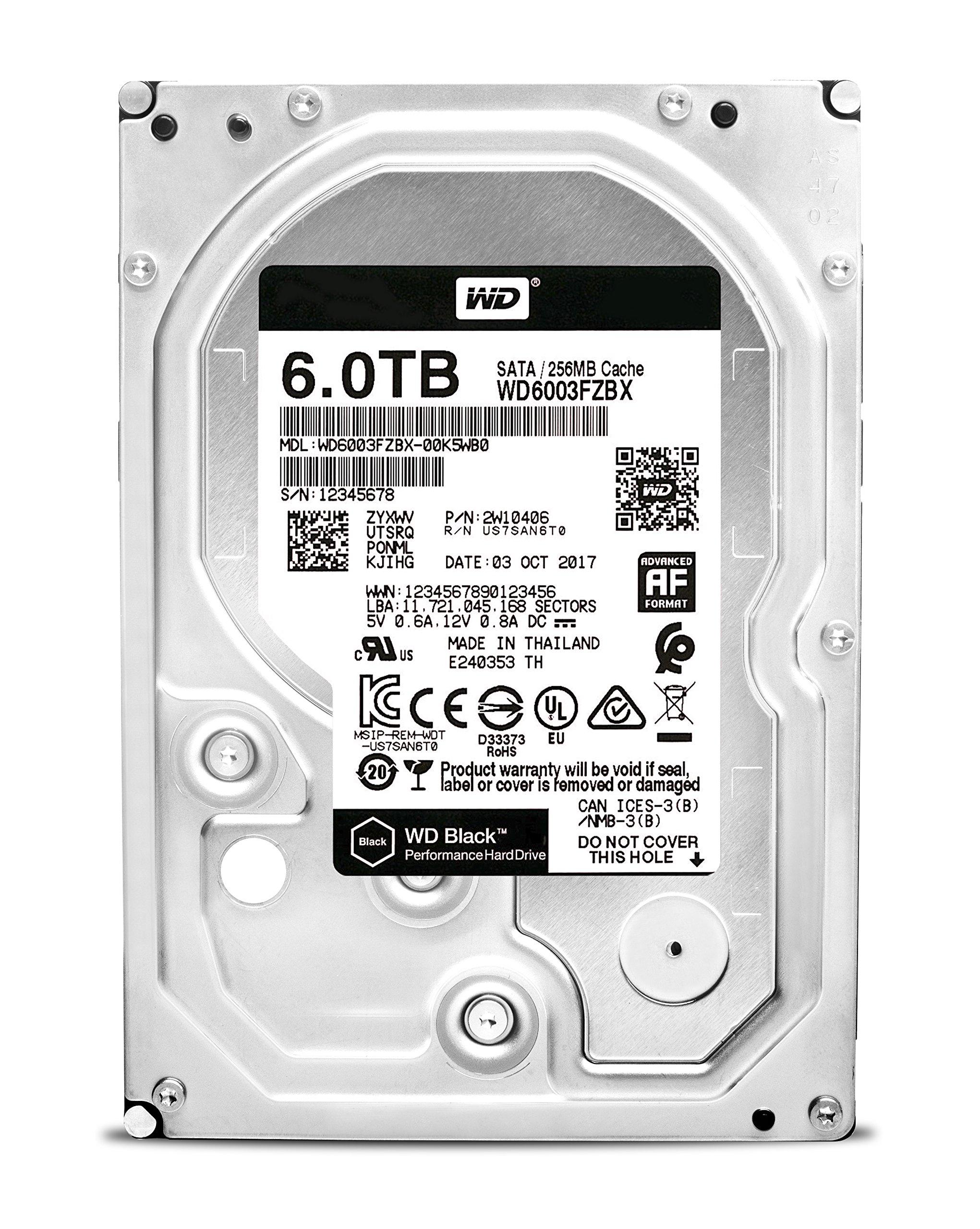 WD Black 6TB Performance Desktop Hard Drive - 7200 RPM SATA 6Gb/s 256MB Cache 3.5 Inch - WD6003FZBX