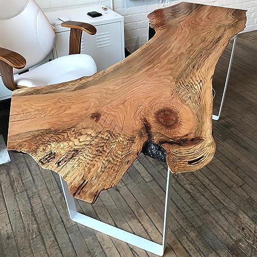 Live Edge Desk   Original Wood Desk Contemporary Oak Furniture Solid  Hardwood Executive Desk Modern