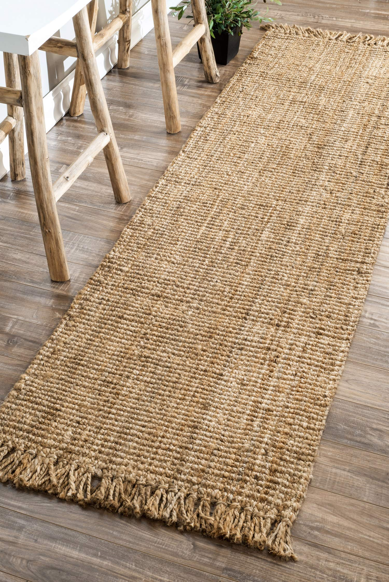 nuLOOM Natura Collection Chunky Loop Jute Runner Rug, 2' 6'' x 8', Natural by nuLOOM