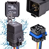 OLS 40/30 Amp Waterproof Relay Switch Harness Set - 12V DC 5-Pin SPDT Automotive Relays 12 AWG Hot Wires