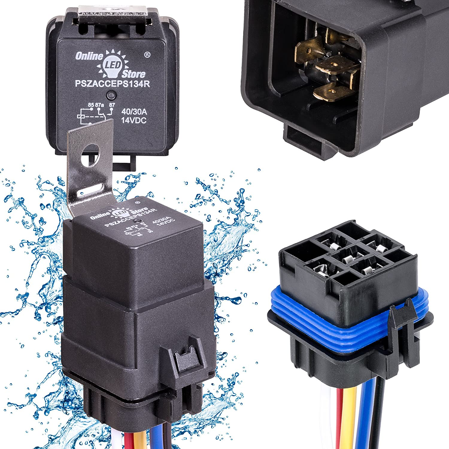 Online Led Store 40 30 Amp Waterproof Relay Switch 4 Prong 12 Volt Harness Set 12v Dc 5 Pin Spdt Automotive Relays Awg Hot Wires