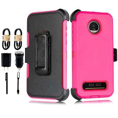 Case for Moto Z4 Play Heavy Duty Full-Body Rugged Holster Armor Case with Built-in Screen Protector, Belt-Clip, Kickstand for Motorola Z4 Play [Accessory Pack] (Pink)