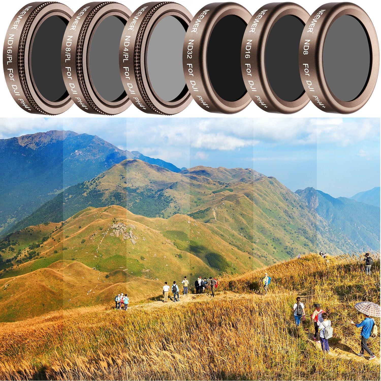 Dorato Inclusi: ND4//PL ND8//PL ND16 ND16//PL ND32 ND8 Neewer 6 Filtri Multi-rivestiti per dji Phantom 4 Pro,Vetro Definizione Ultra Alta Telaio Alluminio