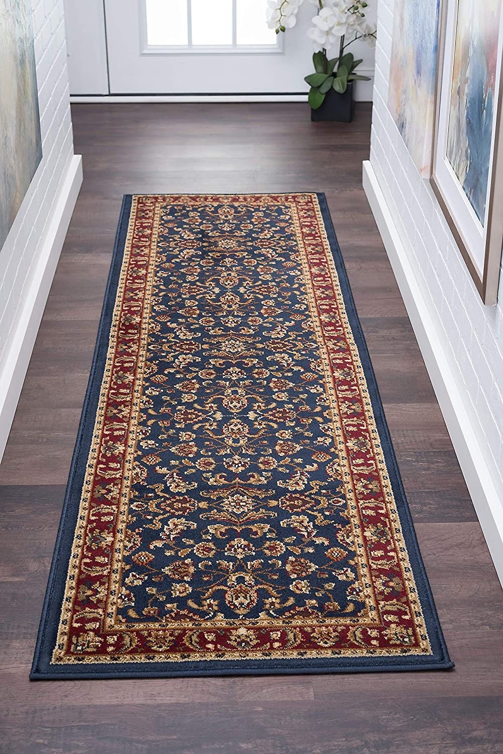 Universal Rugs Sariya Oriental Transitional Runner Accent Area Rug Navy Blue 68 X 221 Cm 2 X 8 Ft Amazon Co Uk Kitchen Home