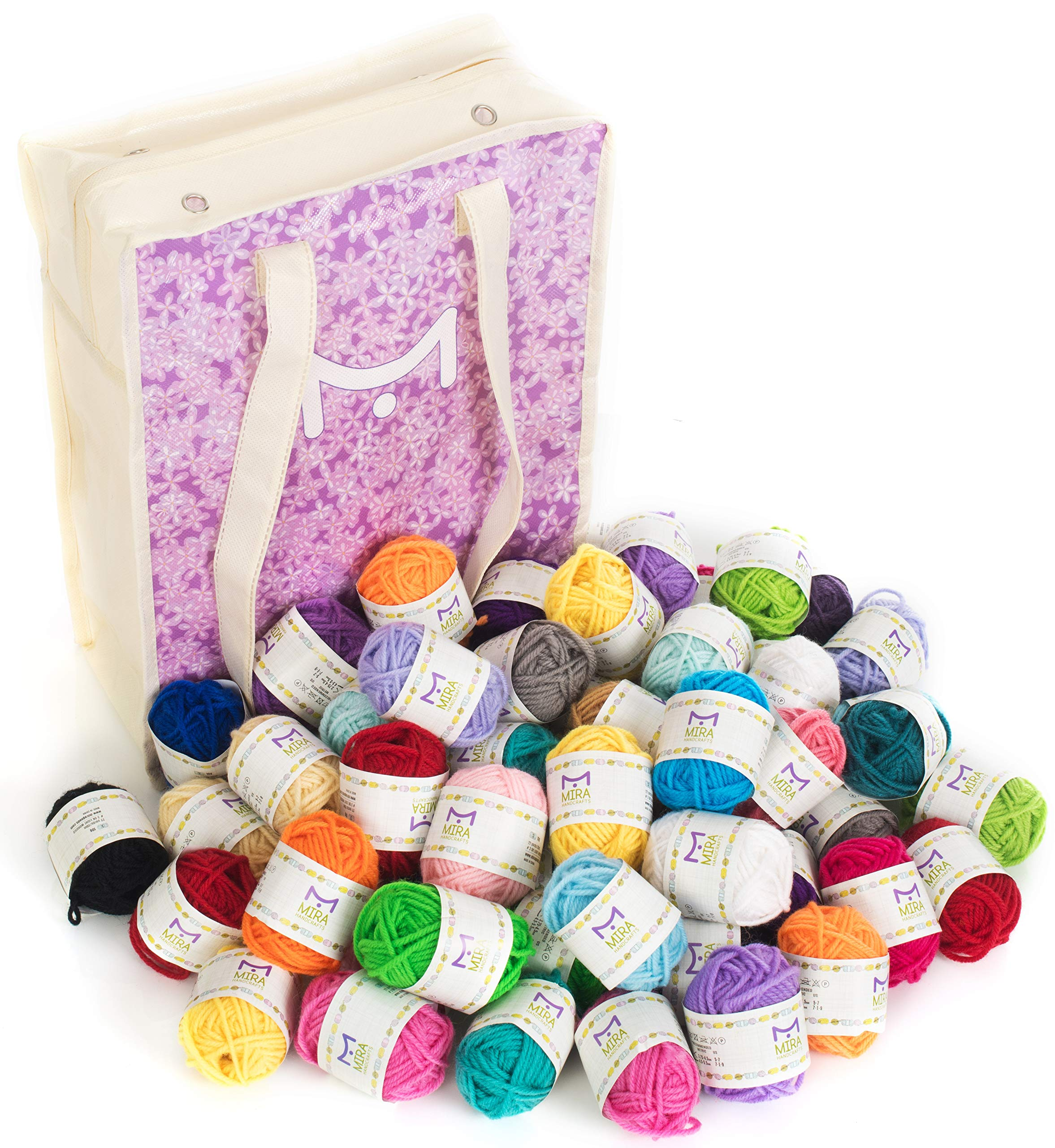 Mira Handcrafts 60 Yarn Bonbons - Total of 1312 Yard Acrylic Yarn for Knitting and Crochet - Yarn Bag for Storage and Accessories Included with Each Pack by Mira HandCrafts (Image #5)