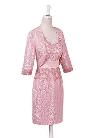 dressvip Pink Lace Knee Length Satin Prom Dresses with 3/4 Sleeves Jacket (UK8