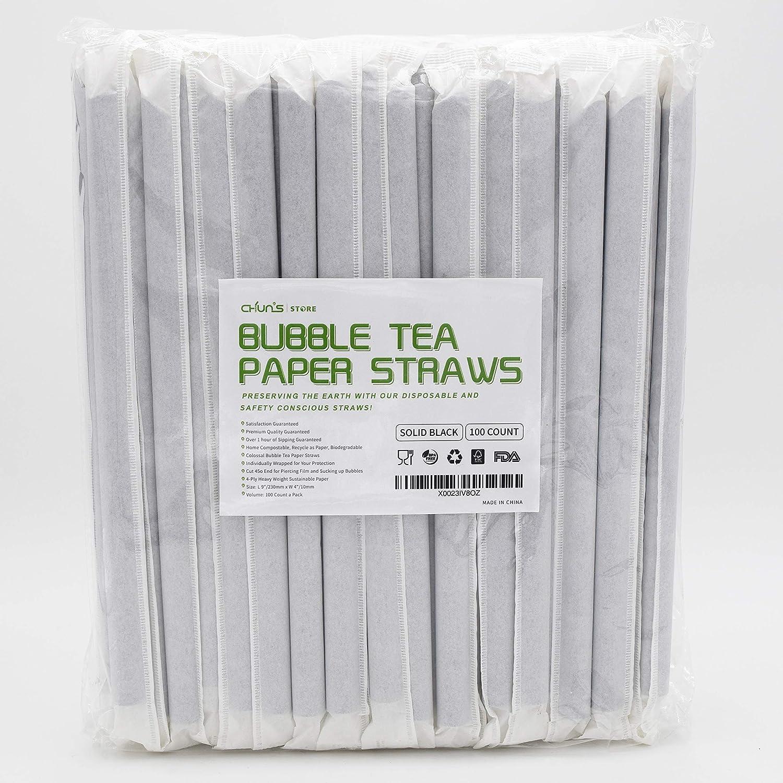 Pajitas de papel gruesas y biodegradables, 100 unidades, 230 mm x ...
