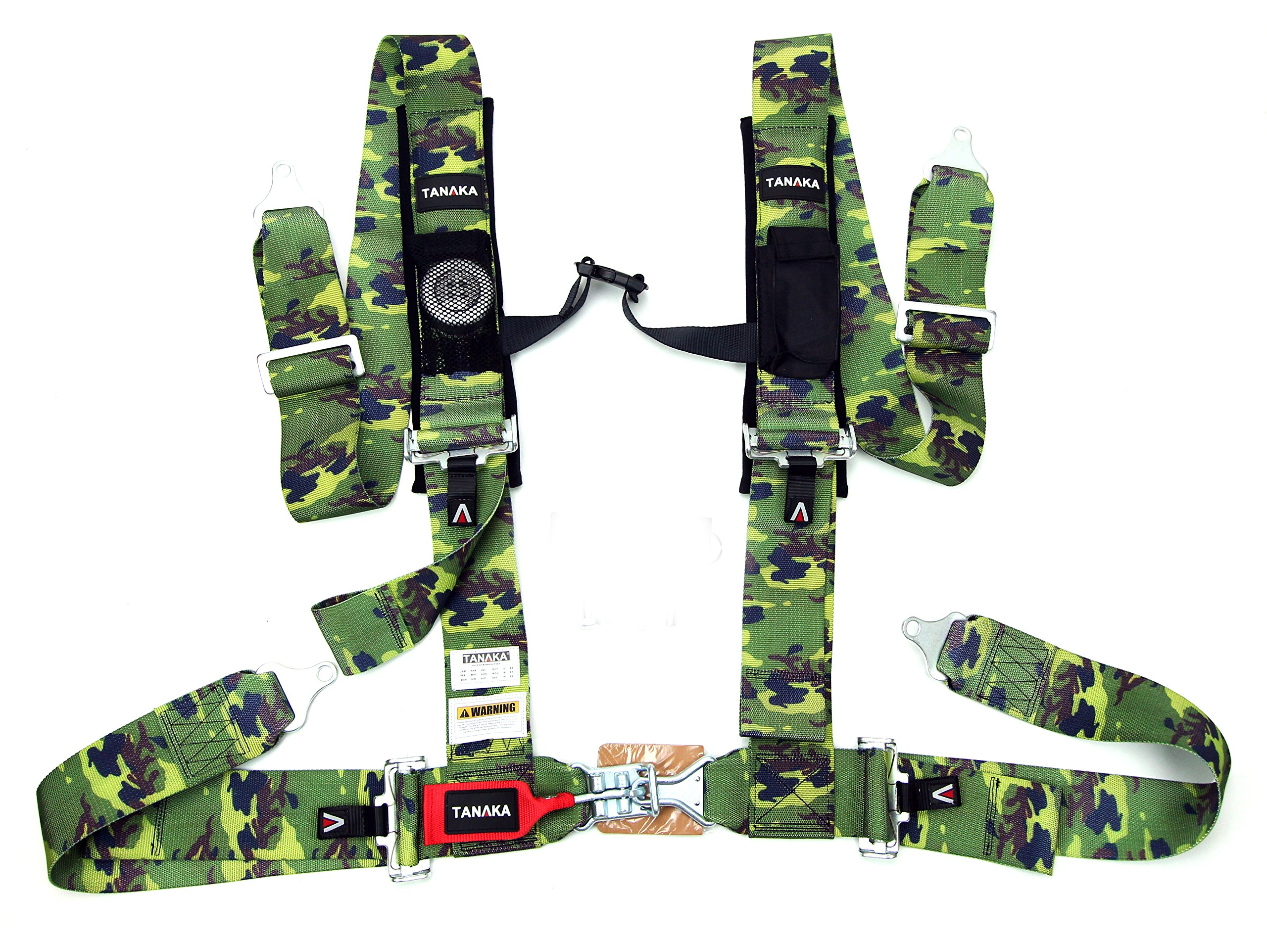 Tanaka Latch and Link 4-Point Safety Harness Set with Ultra Comfort Heavy Duty Shoulder Pads and Utility Pockets (for one seat) (Camouflage)