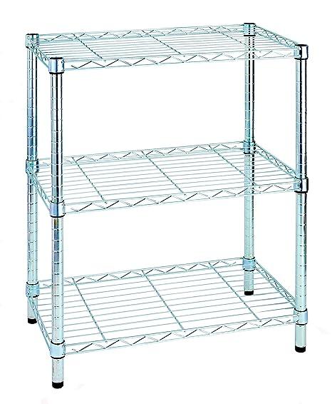 Scaffali Metallici Ikea.Archimede Sistema Componibile Scaffale Tre Ripiani Grigio Cromato 35 X 60 X 75 Cm