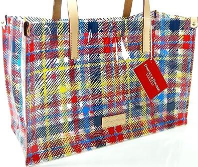 3d3810296f1 Dooney & Bourke Logo Clear Tote Hand Bag Purse Large Shopper Chatham Plaid  Multicolor: Handbags: Amazon.com