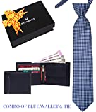 WildHorn Men 100% Genuine Leather Wallet and Tie Gift Set Combo for Boys and Men (Blue)