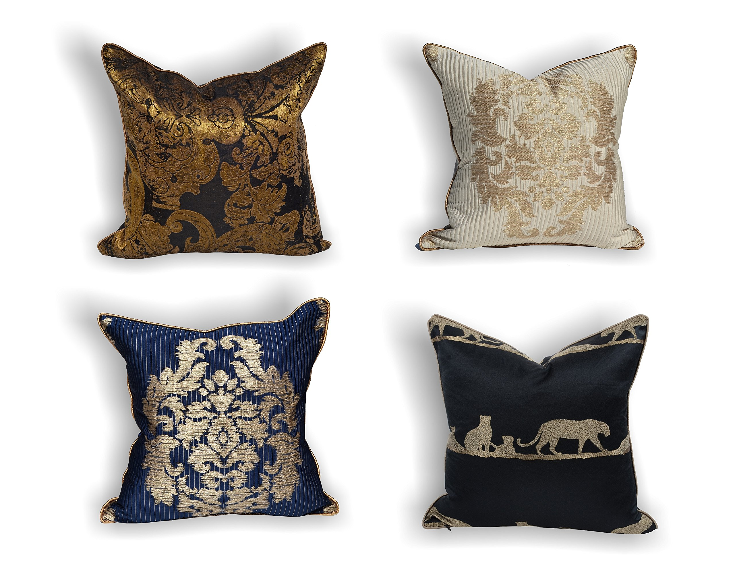 Throw Pillow Cushion Cover Luxury Decorative 18x18 inches (White Gold)