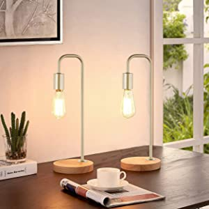 LeeZM Industrial Table Lamp Set of 2 Vintage Rustic Desk Lamp Wooden Bedside Table Reading Lamp Modern Farmhouse Wood Nightstand Light for Bedrooms, Living Room, Office Edison Bulb Lamps Gold(2 Pack)