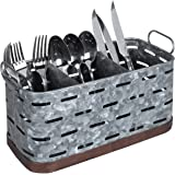 MyGift 3-Compartment Copper and Galvanized Metal Kitchen Utensil Holder with Handles