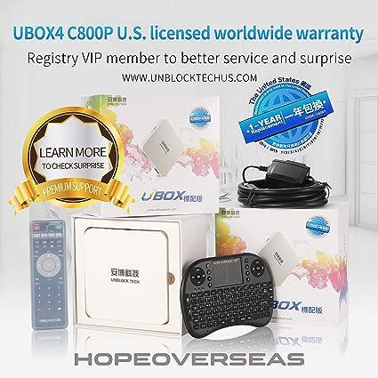 Amazoncom Hope Overseas 2018 Unblock Tech Model Ubox4 C800 Plus Us