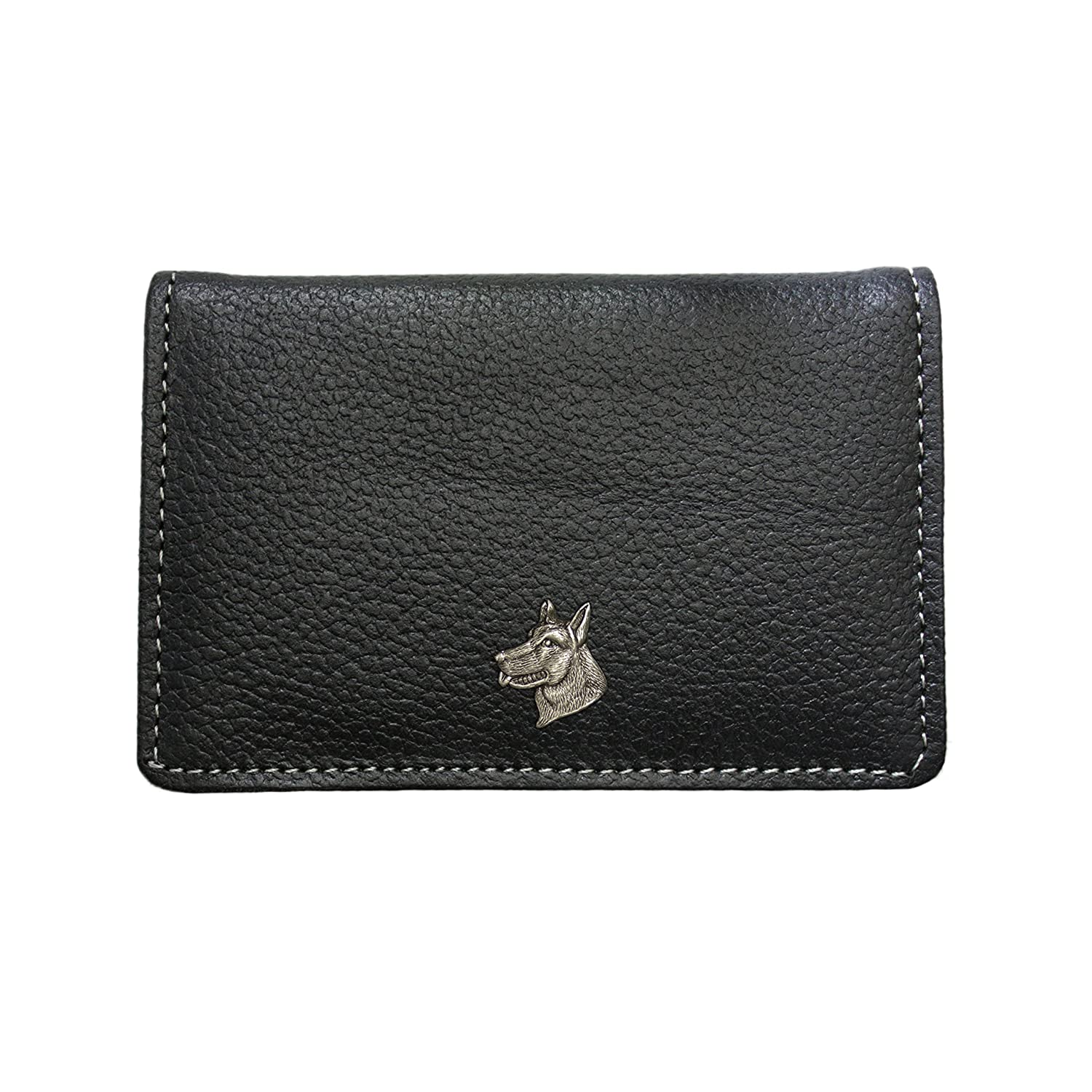 Alsatian German Shepherd dog leather card holder wallet