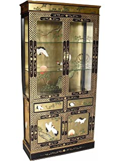 Oriental Chinese Furniture - Black Lacquer Display Cabinet with ...