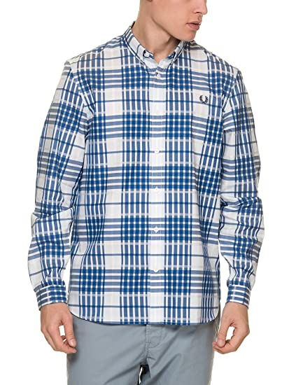 a7ebc4f13 Fred Perry Men s Twill Check Shirt Men s White Plaid Shirt in Size L White   Amazon.co.uk  Clothing