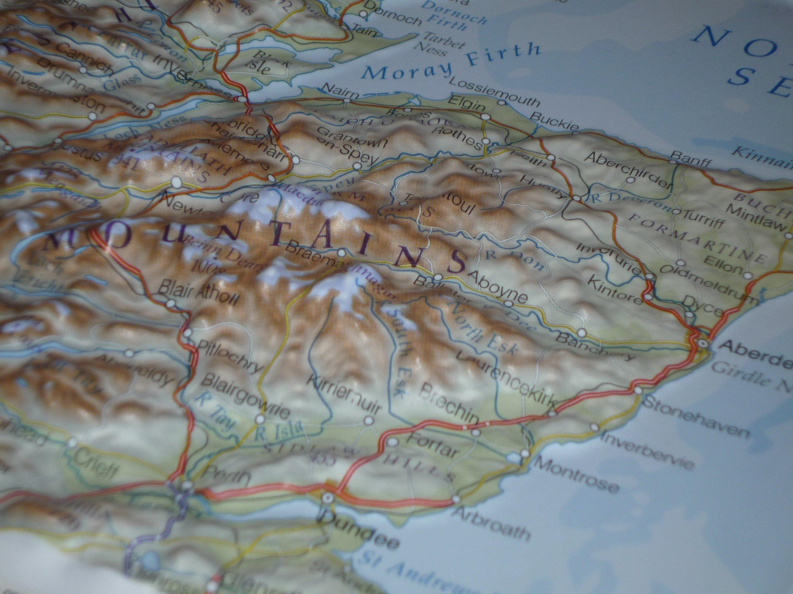 Dorrigo North Scotland Framed Raised Relief Map Amazoncouk - Raised relief map
