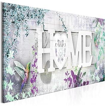 Decomonkey | Bilder Home Blumen Vogel 120x40 Cm | 1 Teilig | Leinwandbilder  | Bild Auf