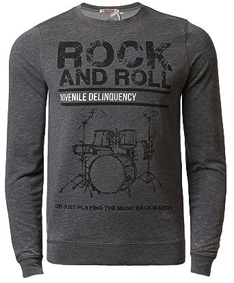 Mens Jumper Sweatshirt Threadbare Rock /& Roll Crew Neck Burn Out Effect Top