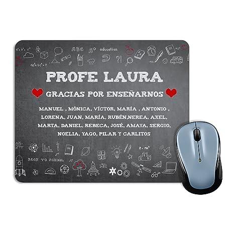 Lolapix Alfombrilla de ratón Profesor y Profesora Personalizada con Nombre del Maestro o Maestra y Alumnos | Regalo Original Fin de Curso | Varios ...