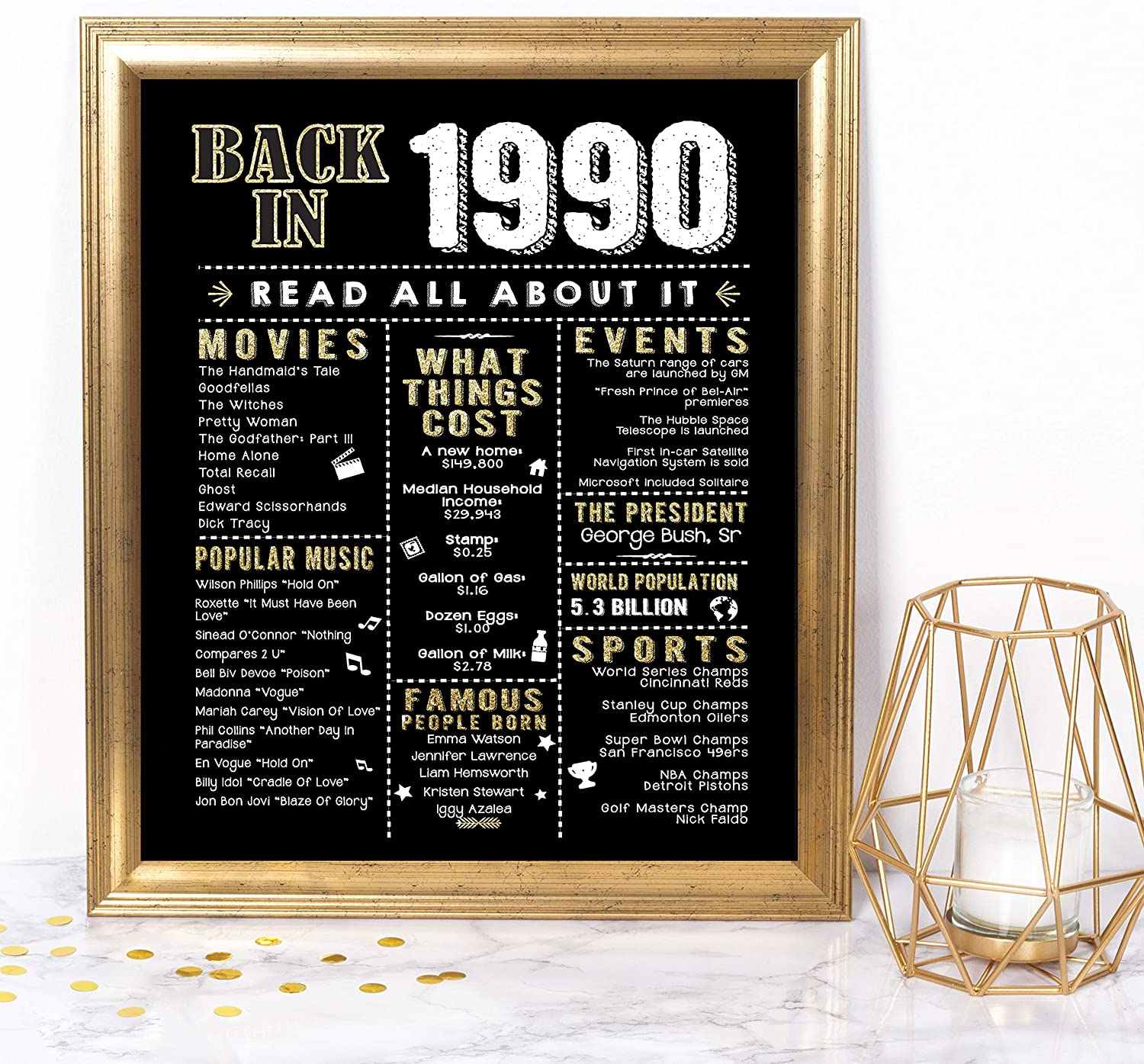 Katie Doodle 30th Birthday Decorations Party Supplies Gifts for Women or Men   Includes 8x10 Back in 1990 Print [Unframed], BD030, Black/Gold