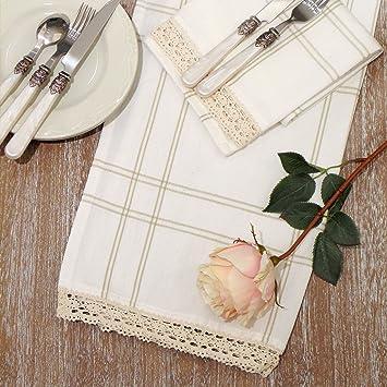 Paño de Cocina - Cocina de toalla de Mano - Trapos de Cocina Rústico Country Chic - Tartán / Ganchillo - 50x70 - Blanco / Beige - 100% Algodón: Amazon.es: ...