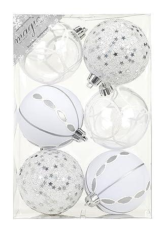 Weihnachtskugeln Weiß Silber.6 Stk Pvc Christbaumkugeln 8cm Silber Weiß Ornament Dekor
