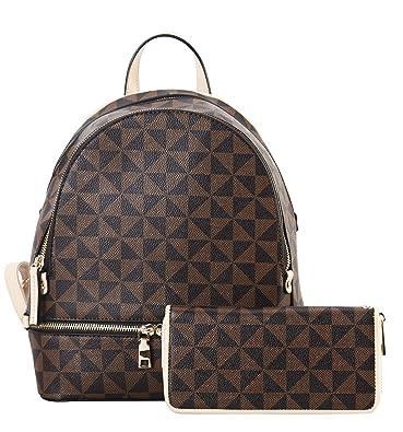 95f610693a24 Amazon.com  Leather Mini Backpack Purse for Women Shoulder Bag Rucksack  with Wallet Fashion Multi Pocket Handbag Apricot Satchel Purse 2pcs Messenger  Bags  ...