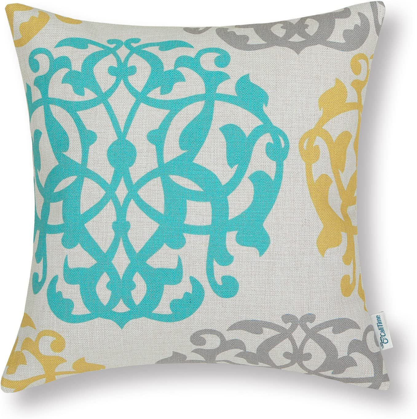 CaliTime Canvas Throw Pillow Cover Case for Couch Sofa Home Decoration Three-Tone Floral Compass Geometric 20 X 20 Inches Turquoise/Yellow/Gray