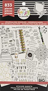 me & my BIG ideas Sticker Value Pack - The Happy Planner Scrapbooking Supplies - Decorative Stickers - Journaling Doodles Theme - Multi-Color & Gold Foil Stickers - 833 Stickers Total