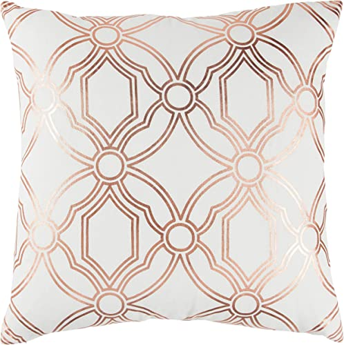 Rizzy Home T13296 Decorative Pillow, 20 X20 , Copper White