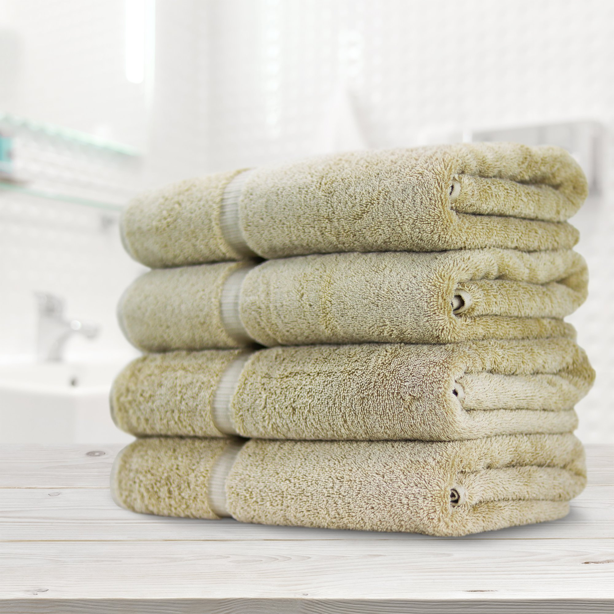Towel Bazaar Premium Eco-Friendly 100% Turkish Cotton Hand Towel Set of 4, Multipurpose Bathroom Towels for Hand, Face, Gym and Spa (16 x 30 inches, Driftwood) by Towel Bazaar (Image #4)