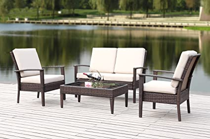 Safavieh 4 Piece Outdoor Collection Myers Patio Set, Brown/Sand - Amazon.com : Safavieh 4 Piece Outdoor Collection Myers Patio Set