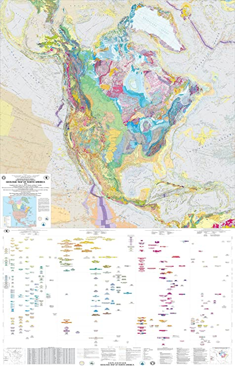 Amazon.com: Mapa cartel – Geologic Mapa de América del Norte ...
