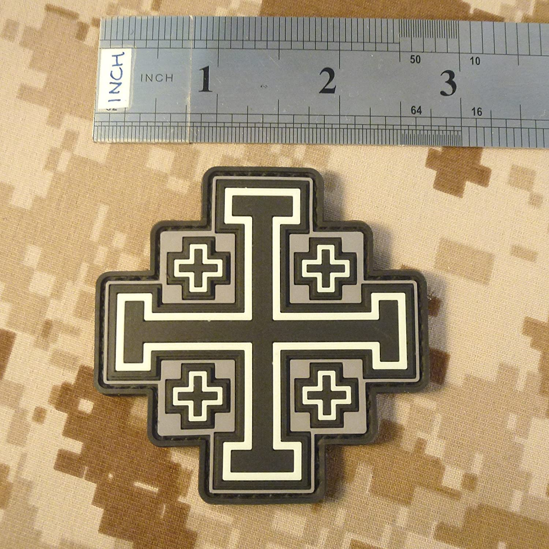 Glow Dark Jerusalem Cross PVC rubber crusaders Holy Sepulchre toppa hook patch